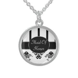 Schwarze u. weiße Streifen, Monogramm-Barock Sterling Silberkette
