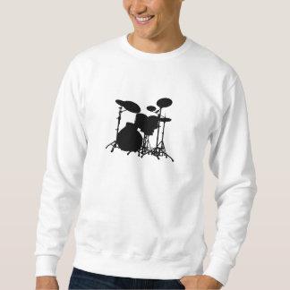 Schwarze u. weiße Trommel-Ausrüstungs-Silhouette - Sweatshirt