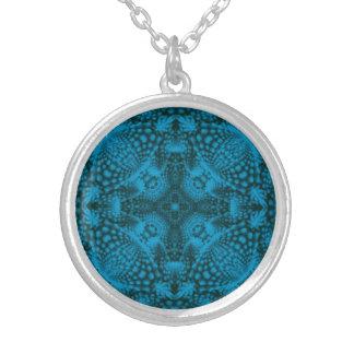 Schwarze und blaue Vintage Kaleidoskop-Halsketten Versilberte Kette