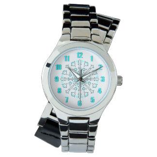 Schwarze und blaue Zeit-Friedensuhr Armbanduhr