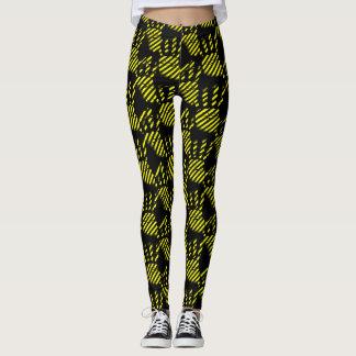 Schwarze und gelbe Palme druckt Muster, Bau Leggings