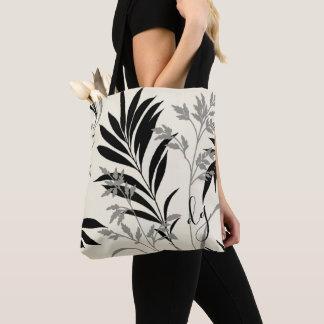 Schwarze und graue Farn-Wedel-Taschen-Tasche Tasche