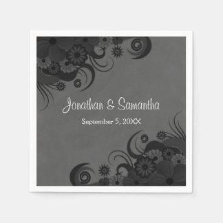 Schwarze und graue gotische Hochzeits-Papiermit Papierserviette