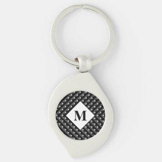 Schwarze und graue winklige Linien des Monogramms Silberfarbener Wirbel Schlüsselanhänger