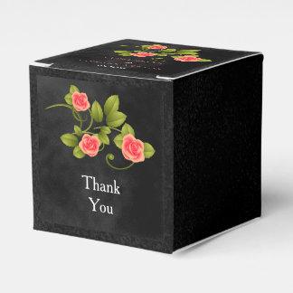 Schwarze und korallenrote Rosen-Blumen-Hochzeit Geschenkschachteln