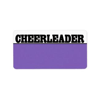 Schwarze und lila Cheerleader-Namen-Aufkleber Adressaufkleber