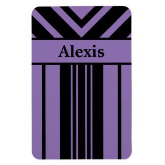Schwarze und lila Streifen-Sparren mit Ihrem Namen Magnet