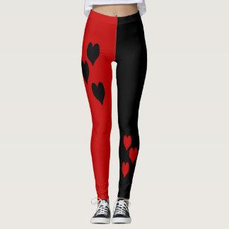 Schwarze und rote Herz-Gamaschen Leggings