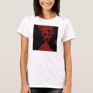 Schwarze und rote unbedeutende Gasse T-Shirt