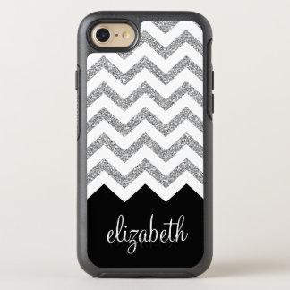 Schwarze und silberne Glitter-Druck-Sparren und OtterBox Symmetry iPhone 8/7 Hülle