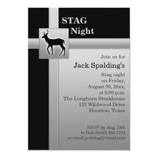 Schwarze und silberne Hirsch-Einladung 12,7 X 17,8 Cm Einladungskarte