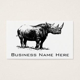 Schwarze Vintage Nashorn-Linie Kunst Visitenkarte