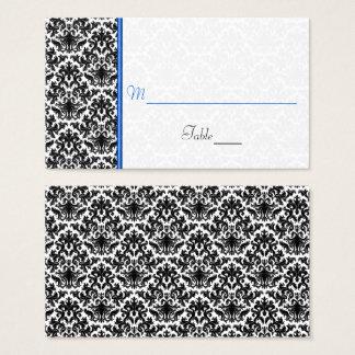 Schwarze, weiße, blaue Damast-Hochzeits-Platzkarte Visitenkarte