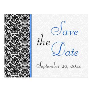 Schwarze, weiße, blaue Damast-Save the Date Postkarte