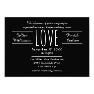 Schwarze/weiße Liebe - Einladung der Hochzeits-3x5