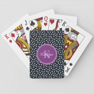 Schwarze, weiße und lila personalisierte spielkarten