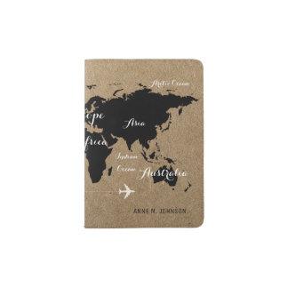 schwarze Weltkarte auf Imitat Kraftpapier stilvoll Passhülle