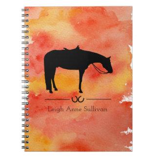 Schwarze Western-PferdeSilhouette auf Watercolor Spiral Notizblock