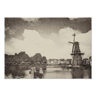Schwarze Windmühle, Haarlem, die Niederlande Fotodruck