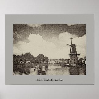 Schwarze Windmühle, Haarlem, die Niederlande Poster