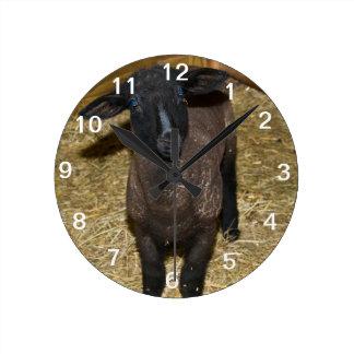 Schwarze Ziegen-Uhr Runde Wanduhr