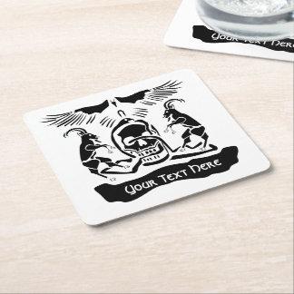 Schwarze Ziegen-verdorbenes Dreiheits-Wappen Rechteckiger Pappuntersetzer