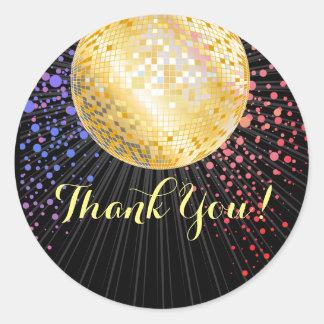 schwärzen Sie, Disco-Party, danke zu etikettieren Runder Aufkleber