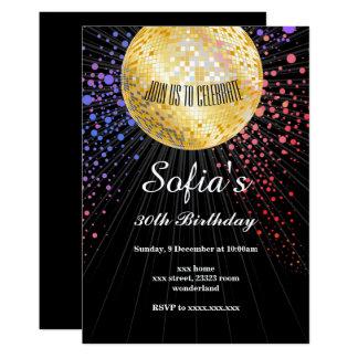 SCHWÄRZEN Sie, Disco-Party, die Siebzigerjahre und 12,7 X 17,8 Cm Einladungskarte