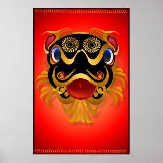 Schwärzen Sie 'n-Goldchinesische Poster