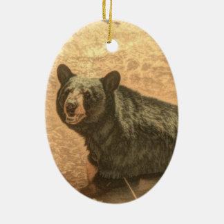 schwarzer Bär der Outdoorsmanwildnisflußwild Ovales Keramik Ornament