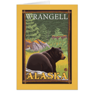 Schwarzer Bär im Wald - Wrangell, Alaska Karte