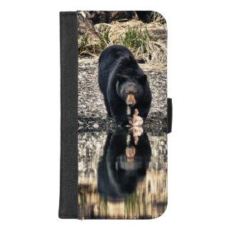 Schwarzer Bärn-Reflexionen iPhone 8/7 Plus Geldbeutel-Hülle