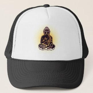 Schwarzer Buddha-Power Truckerkappe