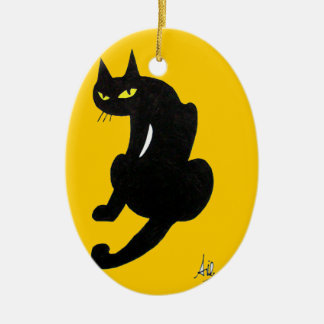 SCHWARZER CAT-HALLOWEEN-PARTY OVALES KERAMIK ORNAMENT