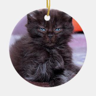 SCHWARZER CAT MIT BLAUE AUGEN-VERZIERUNG KERAMIK ORNAMENT