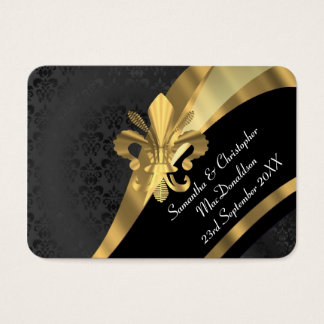 Schwarzer Damast, GoldGastgeschenk Hochzeit danken Visitenkarte