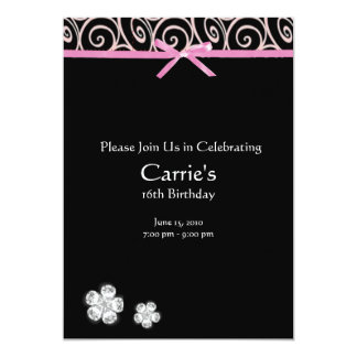 Schwarzer Diamant auf rosa Bonbon 16 12,7 X 17,8 Cm Einladungskarte