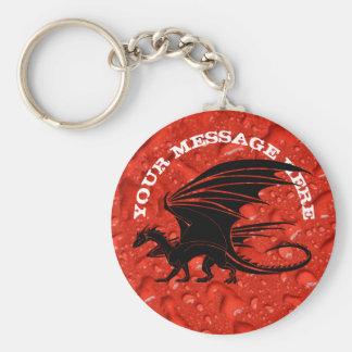 Schwarzer Drache auf rotem Hintergrund Schlüsselanhänger
