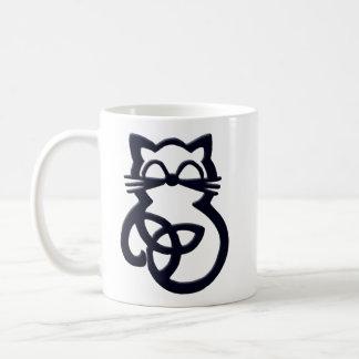 Schwarzer Dreiheits-Knoten-keltische Katzen-Tasse Kaffeetasse