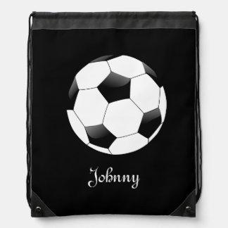 Schwarzer Fußball-Fußball personalisiert Sportbeutel