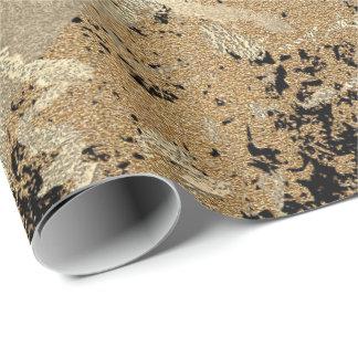 Schwarzer Glittersepia-Goldmarmor-Stein metallisch Geschenkpapier