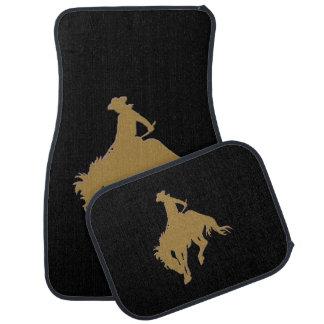 Schwarzer Goldcowboy-sträubendes Pferd Autofußmatte