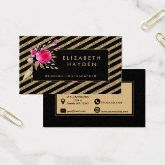 schwarzer GoldGlitter stripes Blumengeschäftskarte Visitenkarte