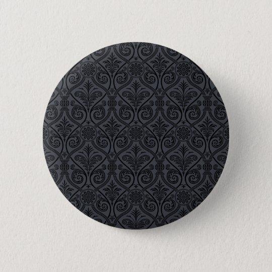 Schwarzer grauer Damast-Druck Runder Button 5,7 Cm