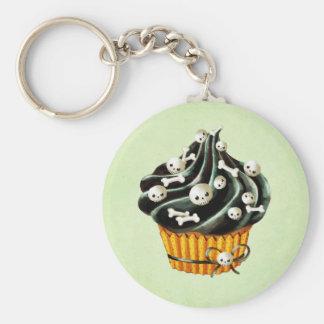 Schwarzer Halloween-kleiner Kuchen mit den kleinen Schlüsselanhänger