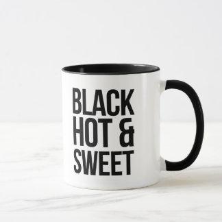 Schwarzer heißer und süßer Kaffee Tasse