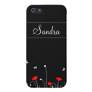 Schwarzer Hintergrund der roten Mohnblumen iPhone 5 Schutzhüllen