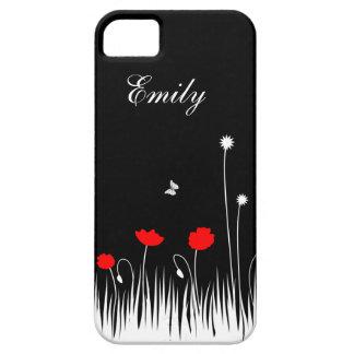 Schwarzer Hintergrund der roten Mohnblumen Schutzhülle Fürs iPhone 5