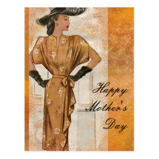Schwarzer Hut-und der Handschuh-Mutter Tag Postkarte
