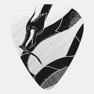 Schwarzer japanischer Drache-Weiß-Hintergrund Plektrum